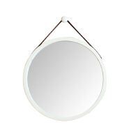 Bamboo framed oversized hanging wall round mirror