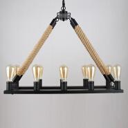 Hemp rope Rectangular chandelier 10-light