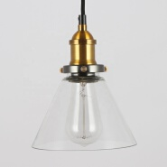Vintage Clear Glass Funnel Filament Personality Dining Room Pendant Light