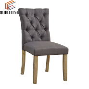 Armless Design Wooden Linen Dining Side Chairs