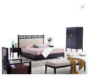 High back design wholesale fabric bed soft adult bedroom furniture set solid wood double bed for sal