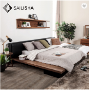 Upholstered Geometric Paneled Platform Bed with Wood Slat Support, King leather double bed Combinati