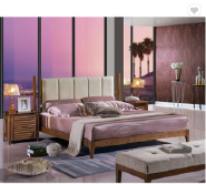 Latest Double Bed Designs New Modern Bedroom Furniture Upholster Leather Bed with Solid Wood Frame