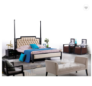 European style luxury bedroom furniture antique solid wood frame genuine leather double bed