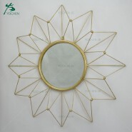 Venetian flower shape metal frame round antique gold mirror