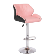Pink pu seat swivel home bar stool chairs with backrest