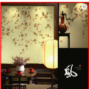 Plum Blossom Chinoiserie Non-woven Fine Ink Hand Painted Wallpapers