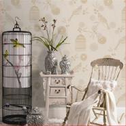 Graceful Flowers & Birdcage Oriental Style Nonwoven Wallpaper