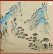 Graceful Fine Ink Painted Chinoiserie Non-woven Landscape Wallpaper