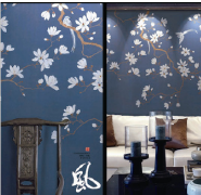 Graceful Fine Ink Painted Chinoiserie Style Non-woven Hand-made Wallpaper