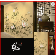 Graceful Floral Fine Ink Painted Non-woven Chinese Wallpaper