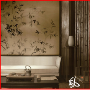 Fine Ink Painted Chinoiserie Style Non-woven Decorative Wall Paper