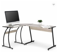 New light wood color L-shaped stainless steel computer desk office