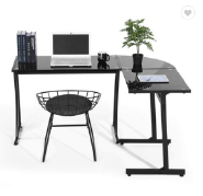 Office Desk L shaped Computer Black Glass Office Table Workstation Home Office 3-Piece