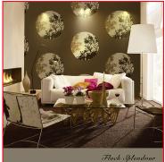 Natural Plant Design Flocked Non-woven Oriental Design Wallpaper