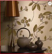 Plant Design Non-woven Flock Beautiful Nature Wallpaper