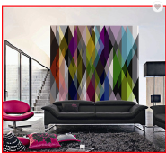 Colorful Rhombic Design Digital Printing Non-woven 3D Wall Panel Wallpaper