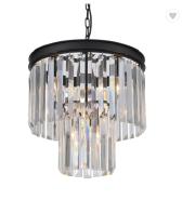 Fashion elegant chandeliers metal black shinny clear strip crystal pendant lamp family
