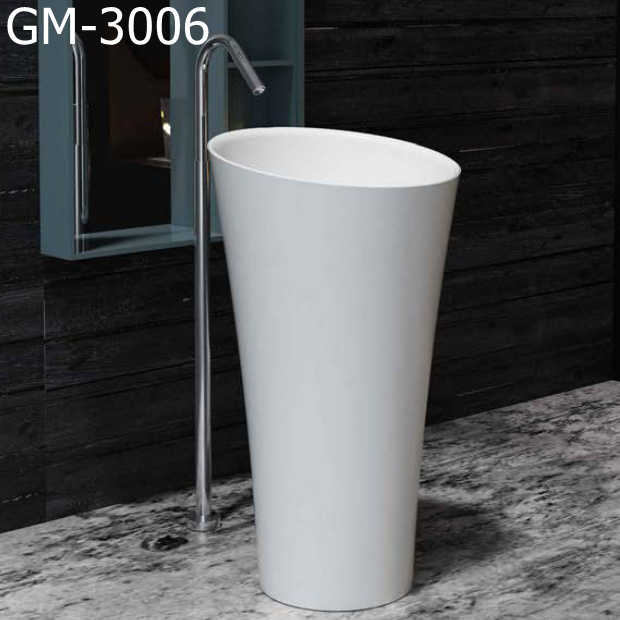 GM-3006 white round resin basin solid surface artificial stone freestanding basin