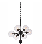Penthouse style industrial interior decorated glass ball chandelier