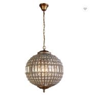 European luxury golden crystal round iron art restaurant porch pendant lamp