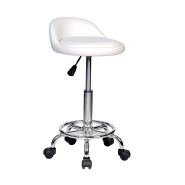 Modern furniture white saddle adjustable PU seat bar stool with mid back