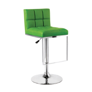 High quality cheap mid back green bar stool with Chromed footrest base