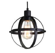 one light Industrial matt black Spherical Pendant Displays Changeable Hanging Lighting