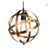 Industrial gold and bronze Spherical Pendant Displays Changeable Hanging Lighting Fixture