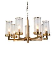 Modern light luxury atmosphere gilded bronze living room dining room crack glass multi-head chandeli