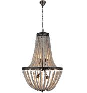 Modern European style antique silver brush gold wood beaded white pendant lamp for ornament