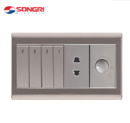 Songri socket 2 pin wall sockets electrical outlets and 4 switch with light dimmer