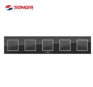 Songri high quality 5 gang 1 way quintuplet 250v big button light wall switch