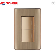 Songri Aluminum Frame 10A 2 Gang 2 Way American Style Light Wall Switch
