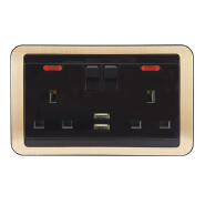 factory price black color European standard 3 Pin Plug 13A on off switch 2 usb power socket