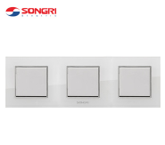 Songri residential white 3 gang 1 way light european wall switch triple