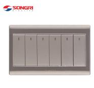 Songri Brand UK Standard Stainless Steel Panel 86*88mm 6 Gang Wall Switch For Light