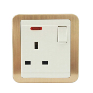 SHARE Quality Assured white and gold panel push button 1 gang 1 way steel switch socket 250V 16A