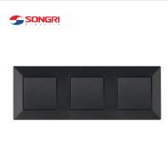 Songri customized logo european standard black 3 gang 1 way home light wall switch triple