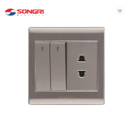 Songri new design 2 gang switch with 2 pin socket
