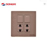 Songri Brand switch socket wall 2 gang switch 2 pin socket