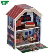 New Arrival Kids Miniature DIY Modern Wooden Doll House