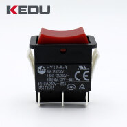KEDU Red Color 6 Terminals DPDT Rocker Switch With UL TUV CE CQC