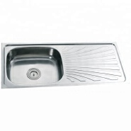 9643 Stainless steel single bowl kitchen sink with 1 tray wash board