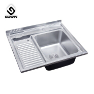 Russia Middle East market Single bowl 304 staineless steel kitchen sink with drain board