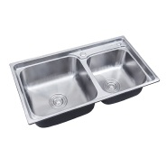 7843 Mid -East One piece rectangular double bowl kitchen sink