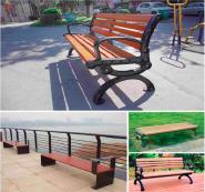 Modern Waterproof WPC Wooden Long Bench Outdoor Garden Chair