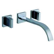 Wall Mounted Two Handle Brushed Nickel Bath Vessel Sink Waterfall Faucet