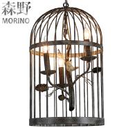 Retro Metal Iron Bird Cage Chandelier Ceiling Lamp Light Pendant Cage Lamp