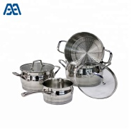 High end stainless steel steamer cooker food cooking pot cookware set